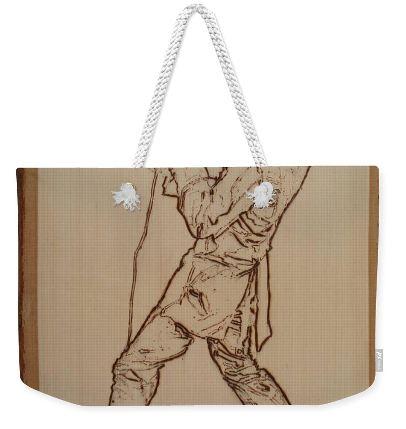 Pyrography Weekender Tote Bag featuring the pyrography Elvis Presley - If I Can Dream by Sean Connolly
