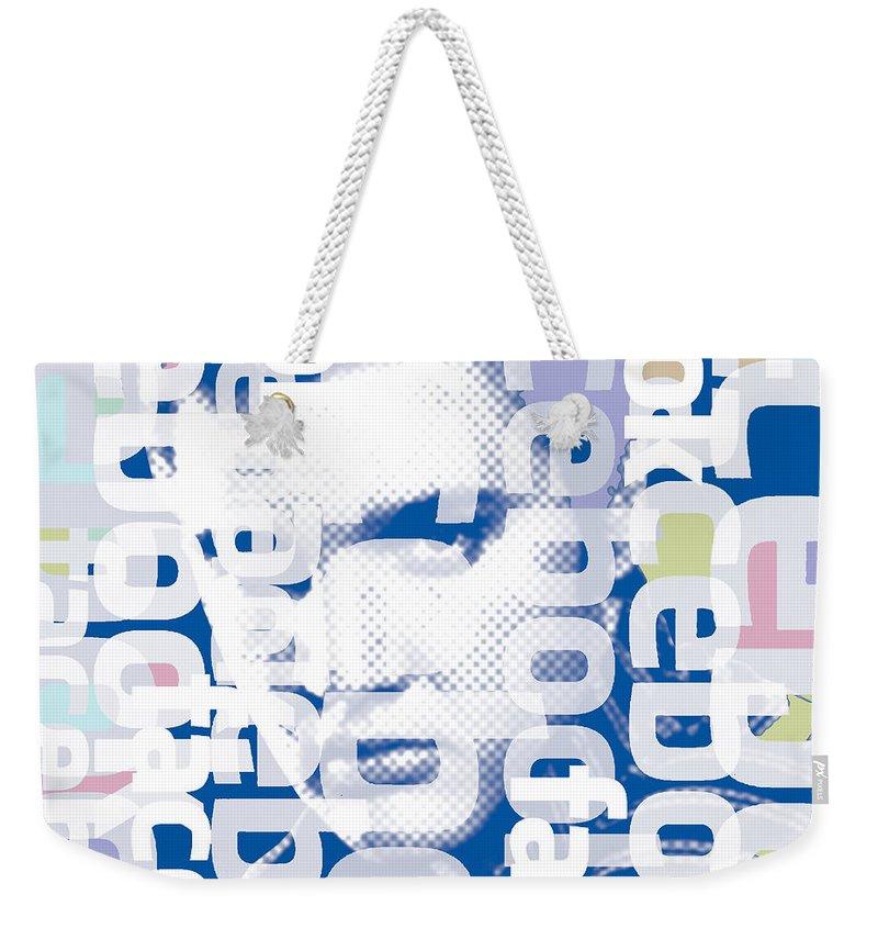 Elvis Presley Weekender Tote Bag featuring the painting Elvis Presley On Facebook by Tony Rubino