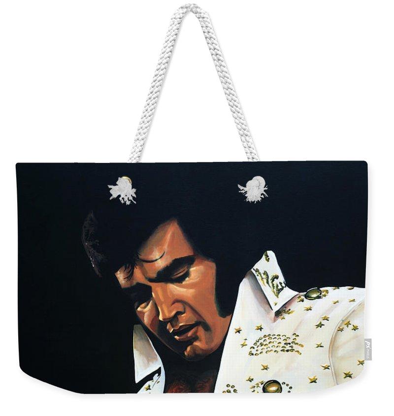 Elvis Weekender Tote Bag featuring the painting Elvis Presley Painting by Paul Meijering