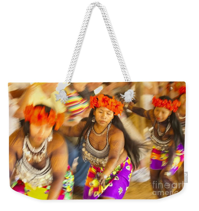 Embera Weekender Tote Bag featuring the photograph Embera Villagers In Panama by David Smith
