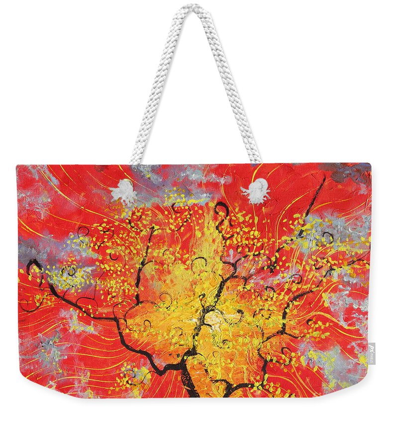 Landscape Weekender Tote Bag featuring the painting Embracing The Light by Stefan Duncan