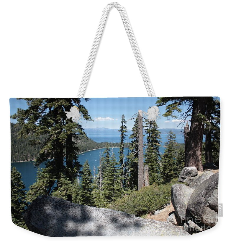 Emerald Bay Weekender Tote Bag featuring the photograph Emerald Bay Vista by Carol Groenen