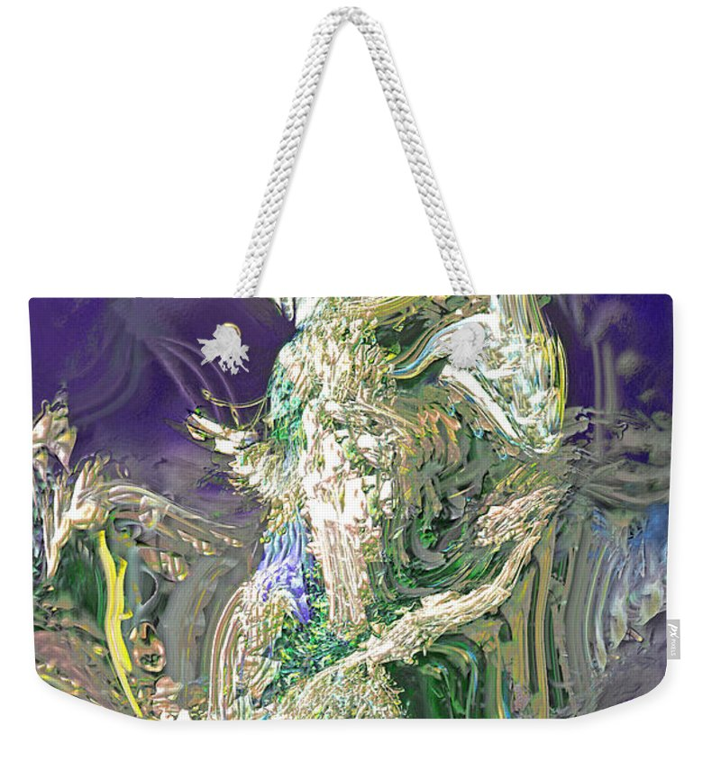 Abstract Weekender Tote Bag featuring the digital art Emerald Elemental by Richard Thomas