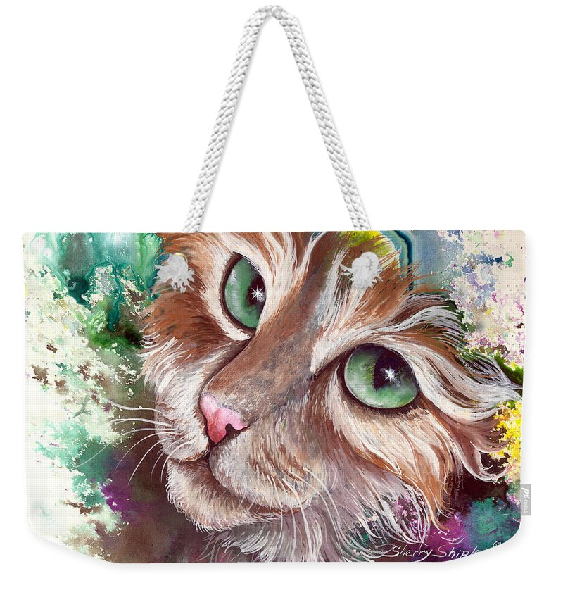 Cat Weekender Tote Bag featuring the painting Emerald Eyes by Sherry Shipley