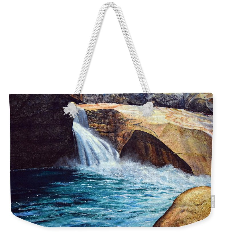 Emerald Pool Weekender Tote Bag featuring the painting Emerald Pool by Frank Wilson