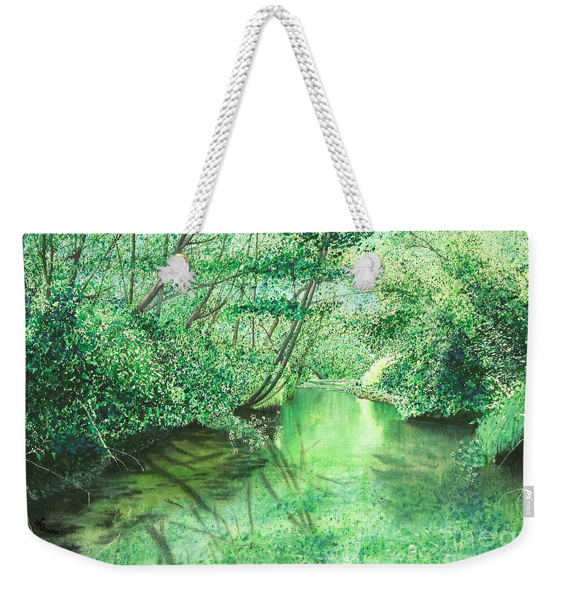Landscape Weekender Tote Bag featuring the painting Emerald Stream by Lynn Quinn