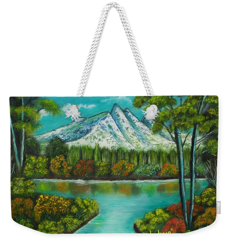 Landscape Weekender Tote Bag featuring the painting Emerald Valley by Brenda Drain