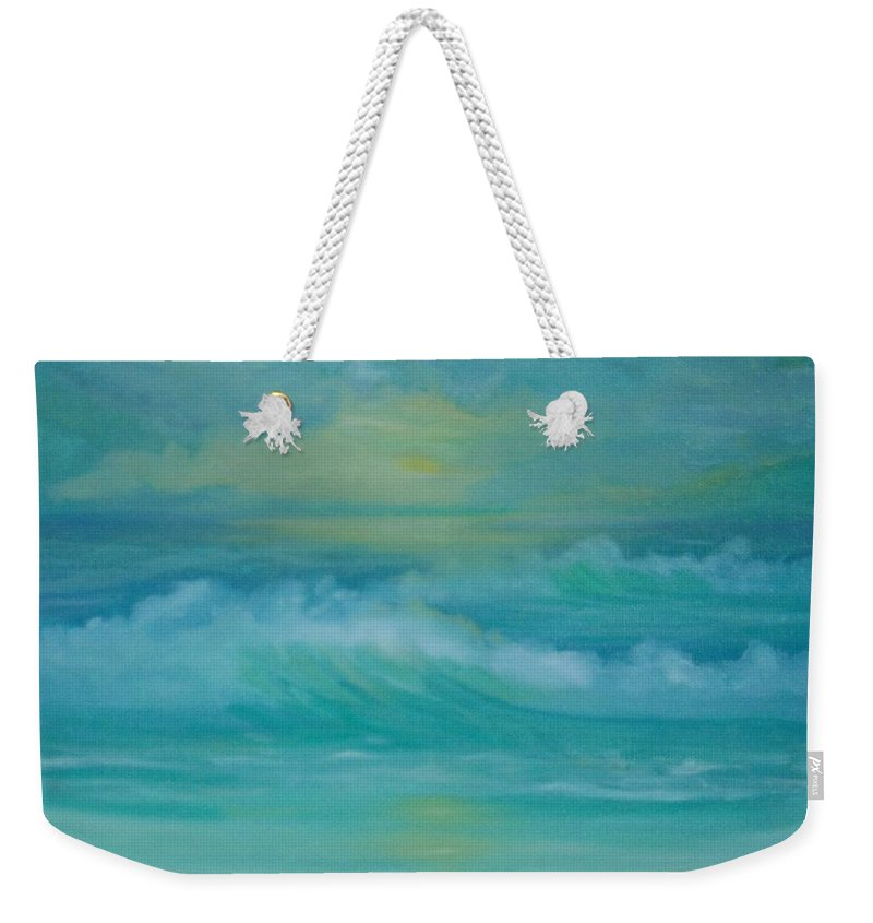 Seascapes Seascape Beach Ocean Waves Shore Coast Green Yellow Blue Clouds Storm Sunrise Sunset Water Sun Summer Weekender Tote Bag featuring the painting Emerald Waves by Holly Martinson