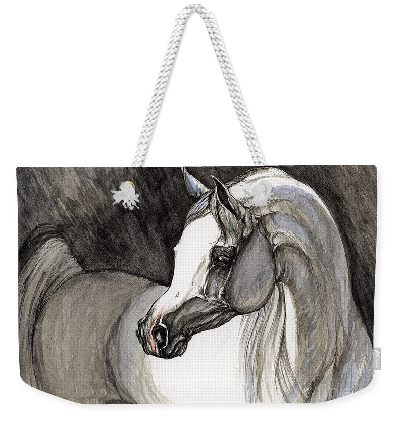 Grey Horse Weekender Tote Bag featuring the painting Emerging From The Darkness by Angel Ciesniarska