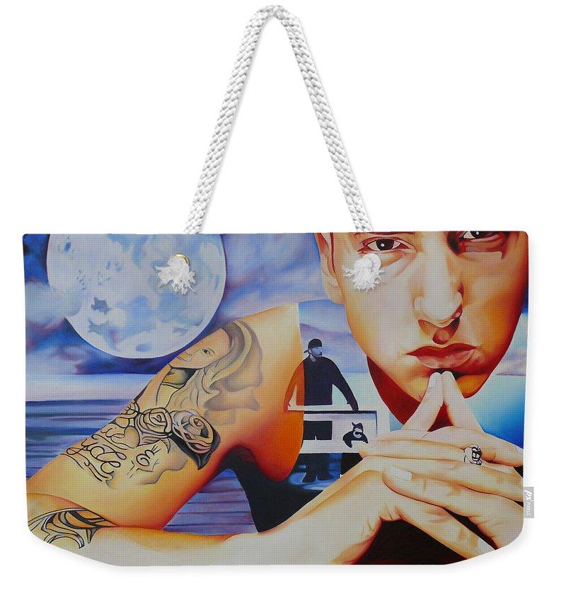 Eminem Weekender Tote Bag featuring the painting Eminem by Joshua Morton