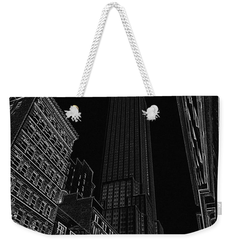 Empire State Building Weekender Tote Bag featuring the digital art Empire Nyc White On Black by Meandering Photography