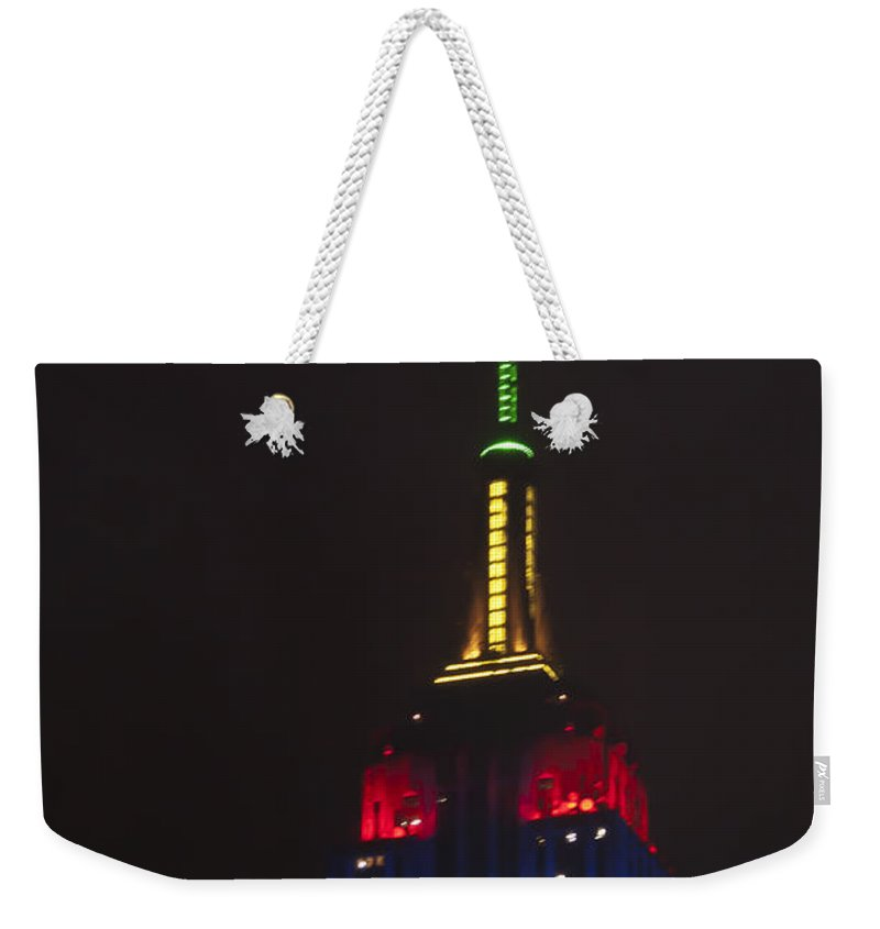 Empire State Building Weekender Tote Bag featuring the photograph Empire State At Night by Steve Purnell