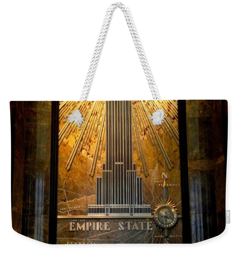 New York Weekender Tote Bag featuring the photograph Empire State Building - Magnificent Lobby by Miriam Danar
