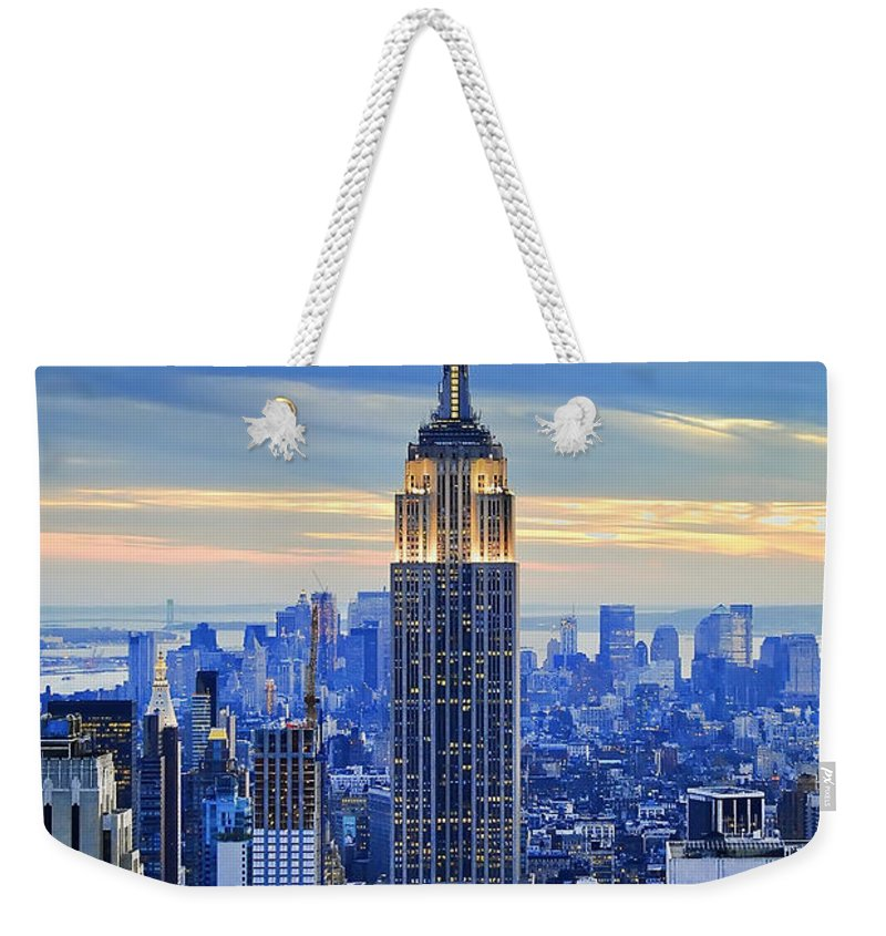New York City Weekender Tote Bag featuring the photograph Empire State Building New York City Usa by Sabine Jacobs