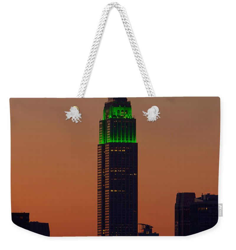 Clarence Holmes Weekender Tote Bag featuring the photograph Empire State Building Saint Patricks Day Lighting I by Clarence Holmes
