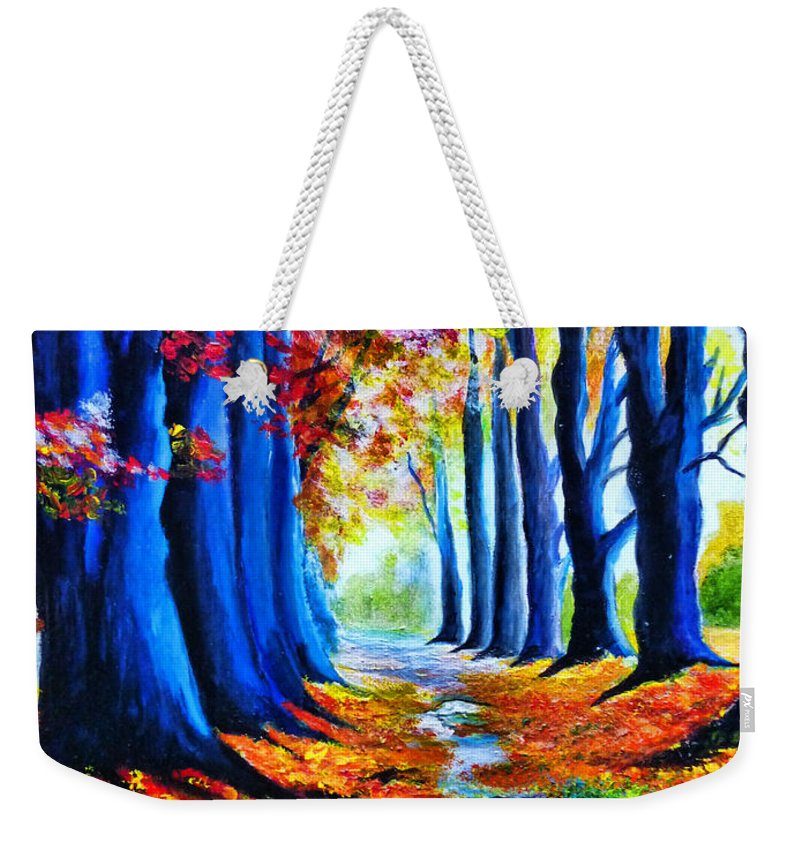 Enchanted Forest Weekender Tote Bag featuring the painting Enchanted Forest by Ryszard Sleczka
