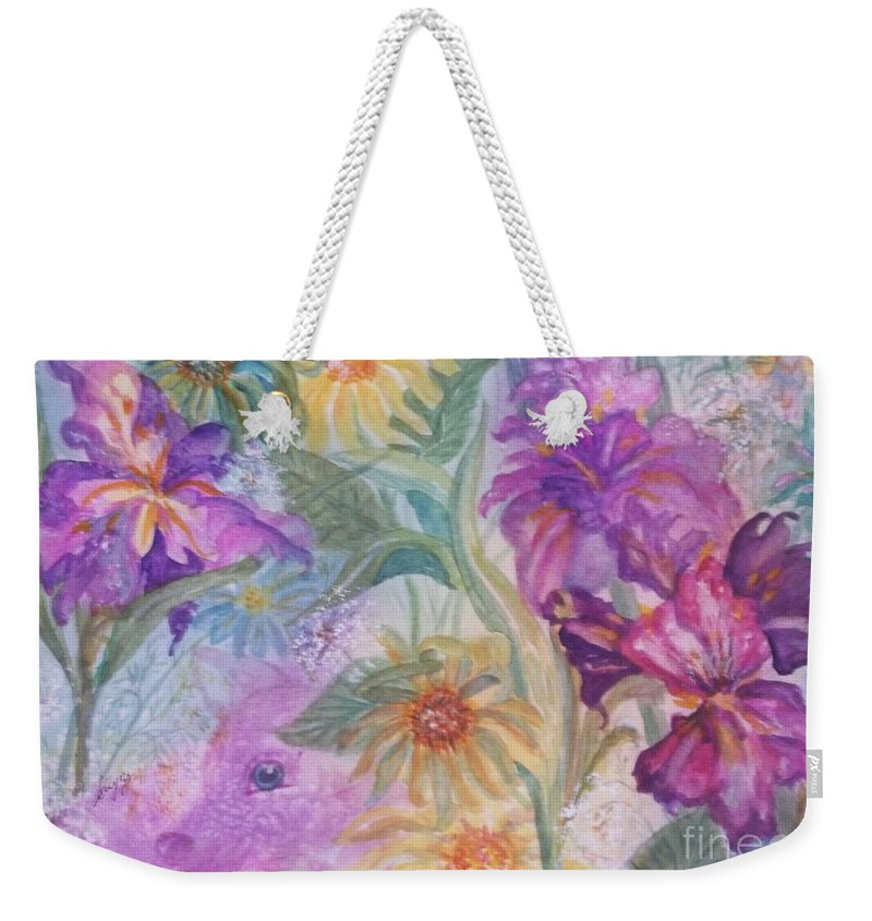Flowers Weekender Tote Bag featuring the painting Enchanted Garden by Ellen Levinson