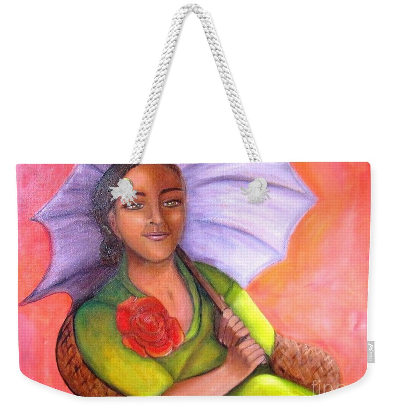 Rose Weekender Tote Bag featuring the painting Enchanted Rose by Laurie Morgan