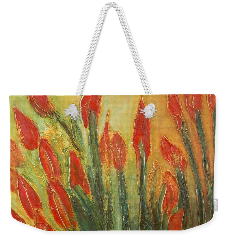 Flower Weekender Tote Bag featuring the painting Endangered Species by Tonya Henderson