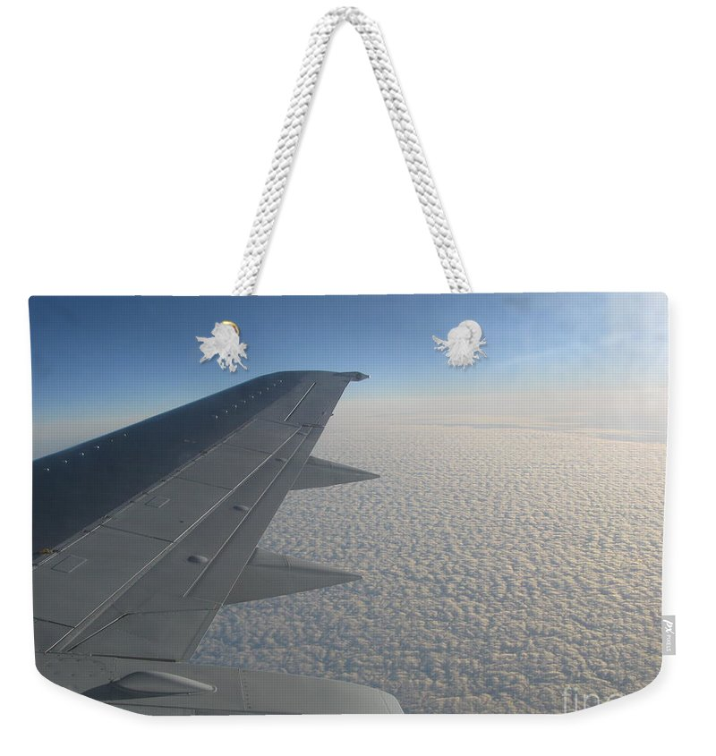 Aviation Weekender Tote Bag featuring the photograph Endless Cotton Cloud Under The Wing by Ausra Huntington nee Paulauskaite