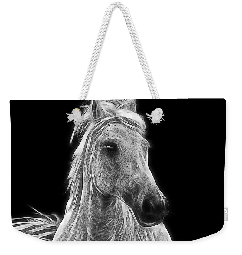 Horse Weekender Tote Bag featuring the photograph Energetic White Horse by Joachim G Pinkawa