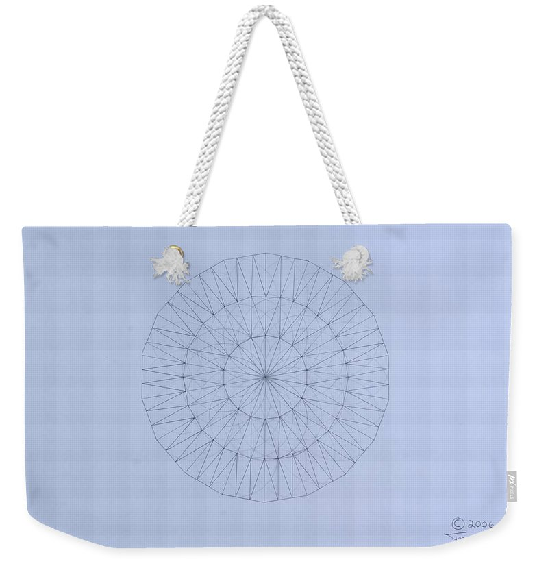 Jason Padgett Weekender Tote Bag featuring the drawing Energy Wave 20 Degree Frequency by Jason Padgett