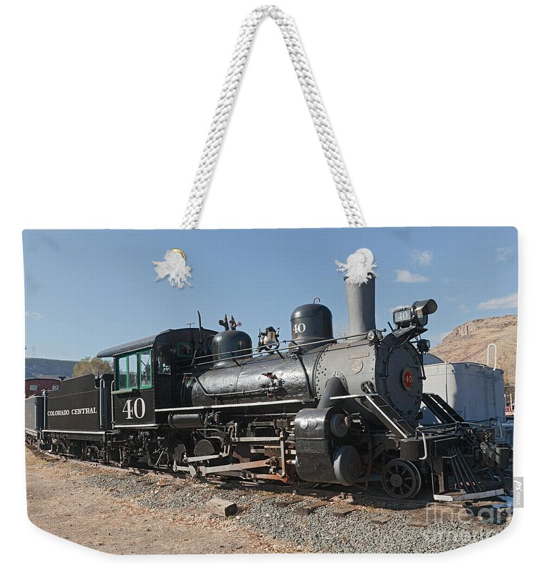 Colorado Weekender Tote Bag featuring the photograph Engine 40 In The Colorado Railroad Museum by Fred Stearns