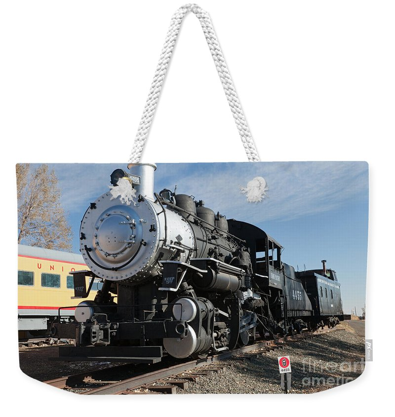 Colorado Weekender Tote Bag featuring the photograph Engine 4455 In The Colorado Railroad Museum by Fred Stearns