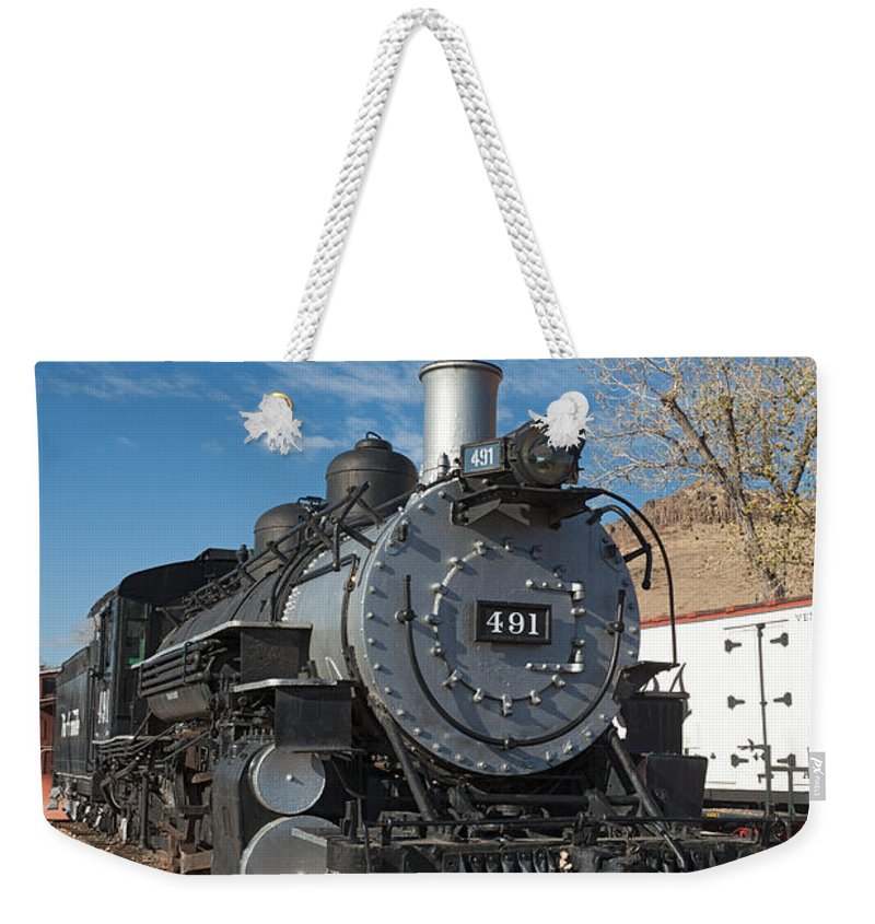 Colorado Weekender Tote Bag featuring the photograph Engine 491 In The Colorado Railroad Museum by Fred Stearns
