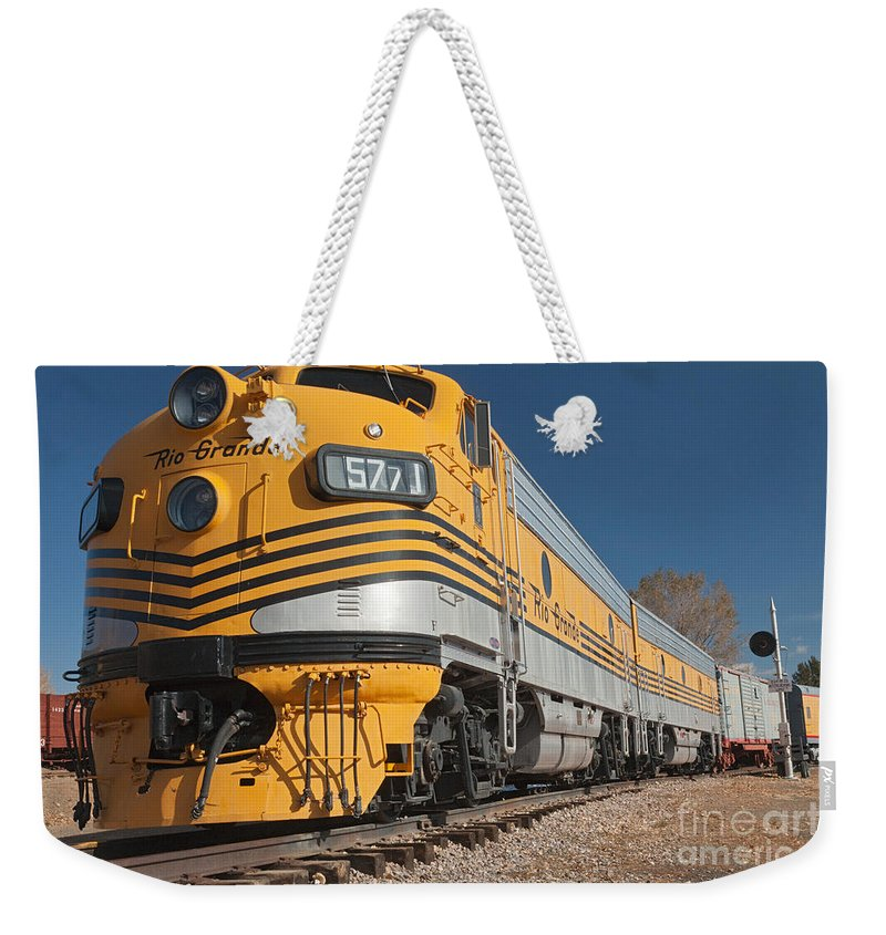 Colorado Weekender Tote Bag featuring the photograph Engine 5771 In The Colorado Railroad Museum by Fred Stearns