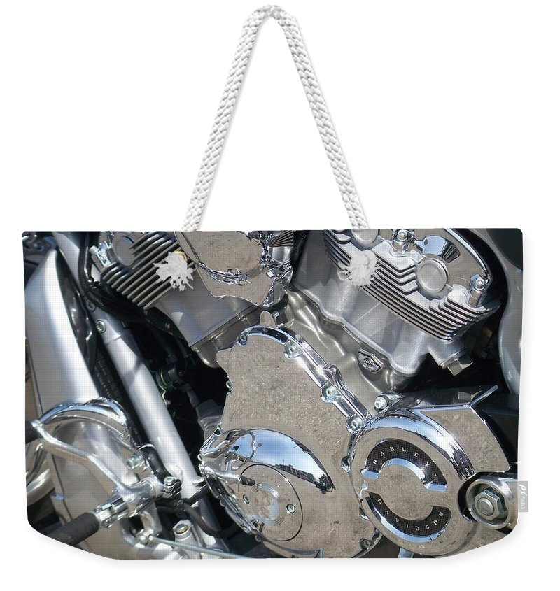 Motorcycles Weekender Tote Bag featuring the photograph Engine Close-up 3 by Anita Burgermeister