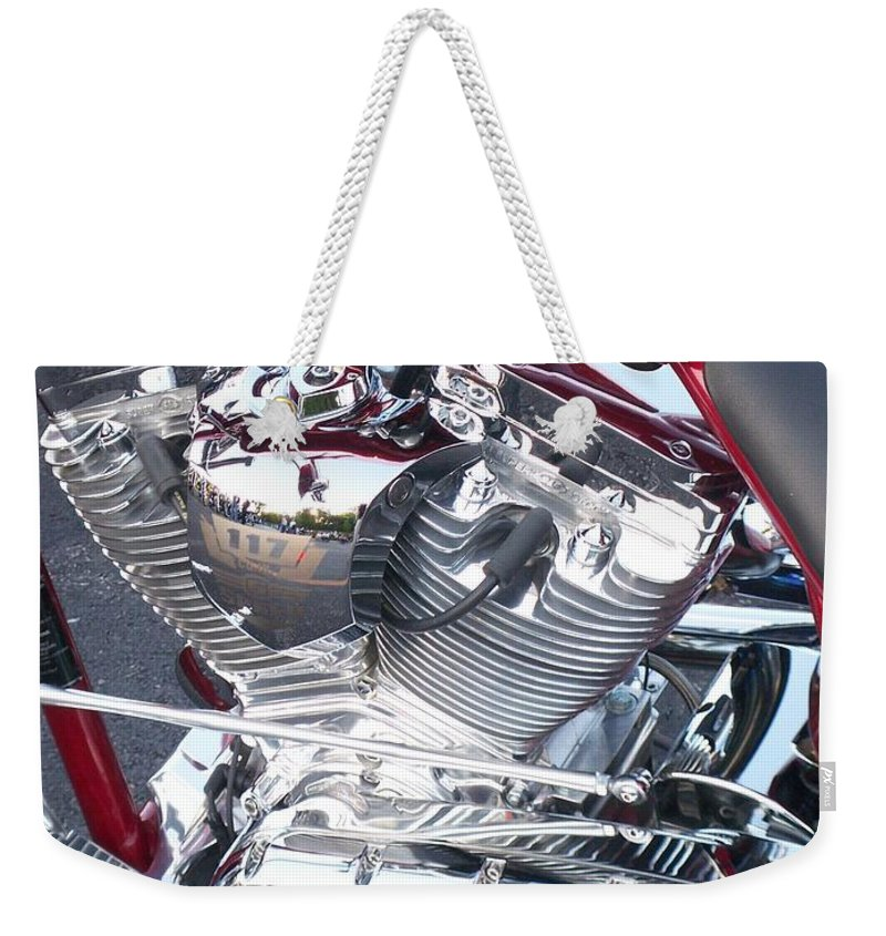 Motorcycles Weekender Tote Bag featuring the photograph Engine Close-up 4 by Anita Burgermeister