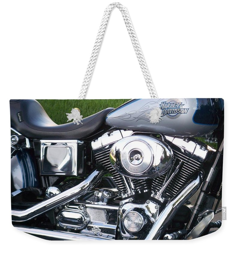 Motorcycles Weekender Tote Bag featuring the photograph Engine Close-up 5 by Anita Burgermeister