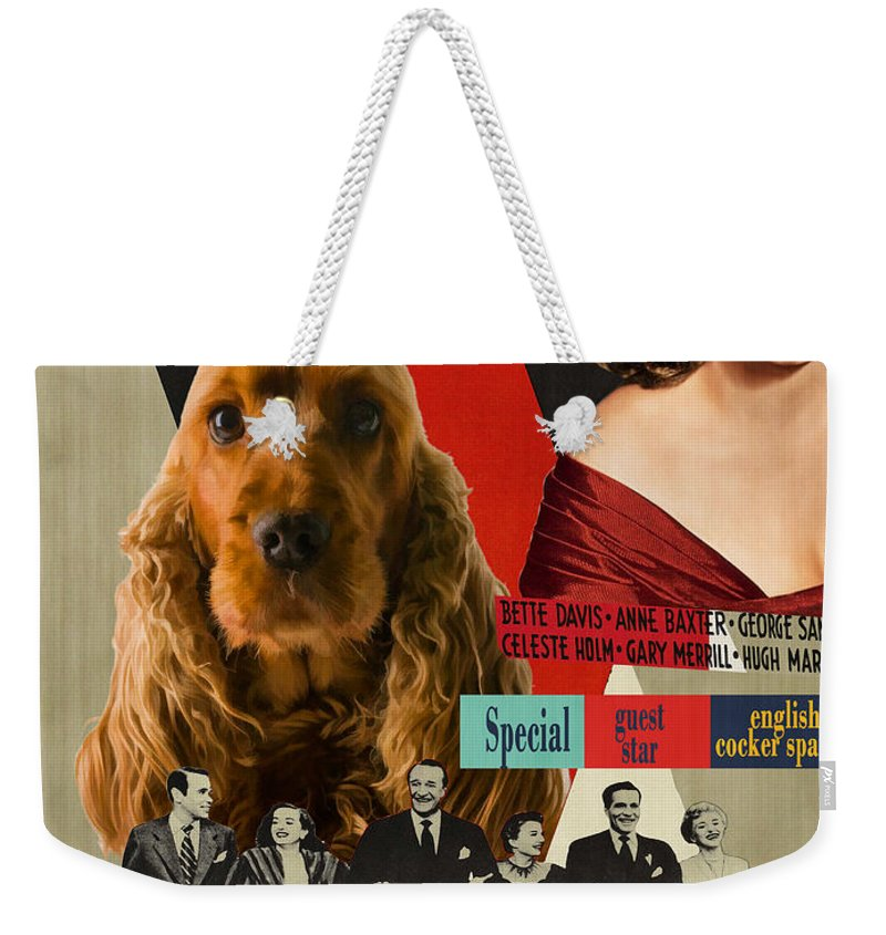 Cocker Spaniel Weekender Tote Bag featuring the painting English Cocker Spaniel Art - All About Eve by Sandra Sij
