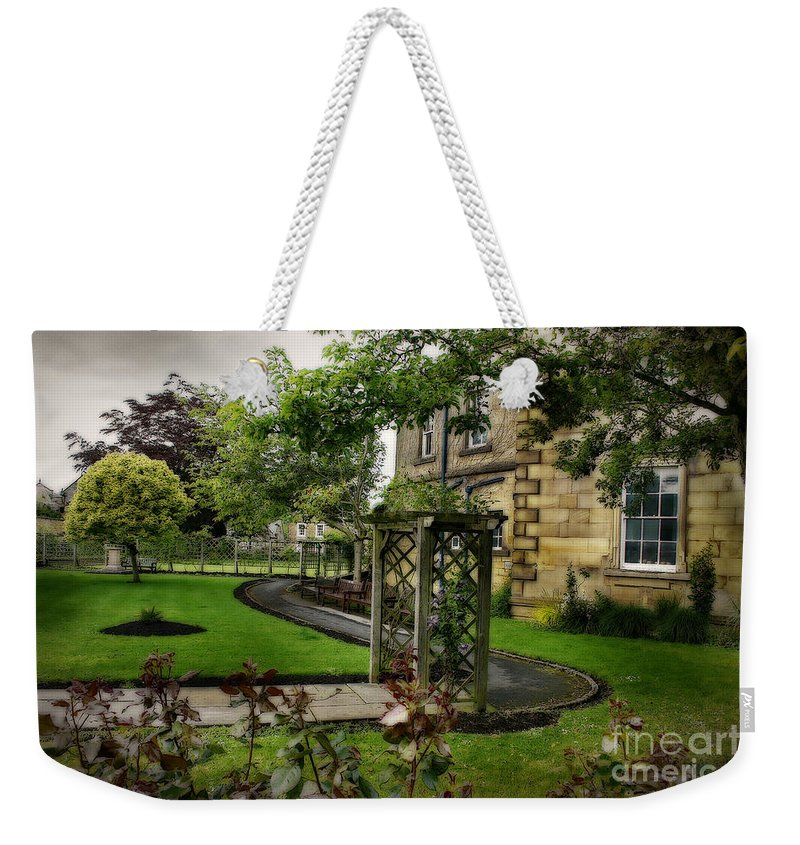 Garden Weekender Tote Bag featuring the photograph English Country Garden And Mansion - Series IIi. by Doc Braham
