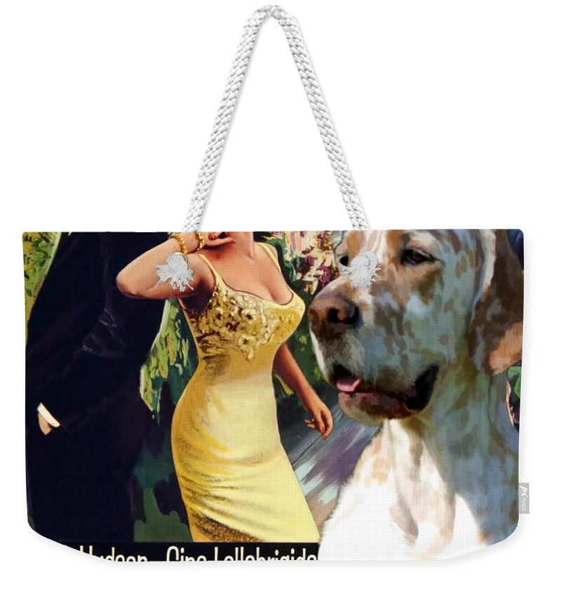English Setter Weekender Tote Bag featuring the painting English Setter Art Canvas Print - Come September Movie Poster by Sandra Sij