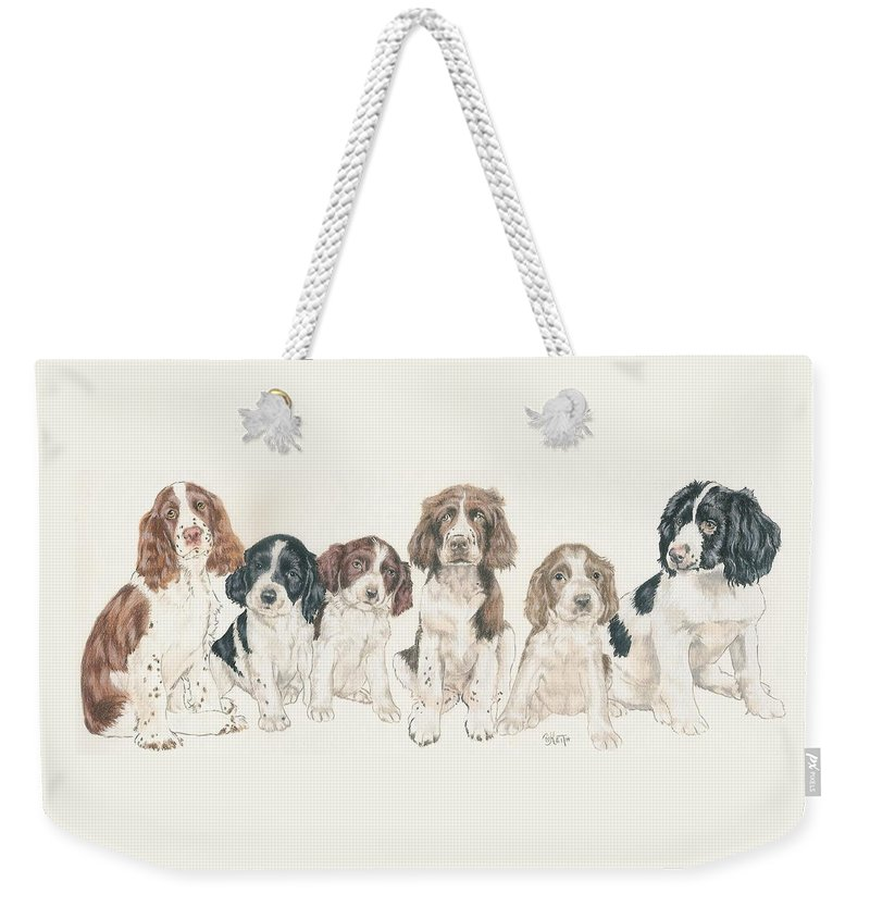 Sporting Group Weekender Tote Bag featuring the mixed media English Springer Spaniel Puppies by Barbara Keith