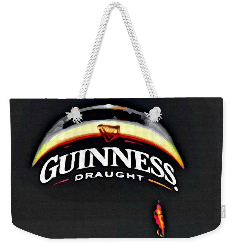 Beer Weekender Tote Bag featuring the painting Enjoy Guinness by Florian Rodarte