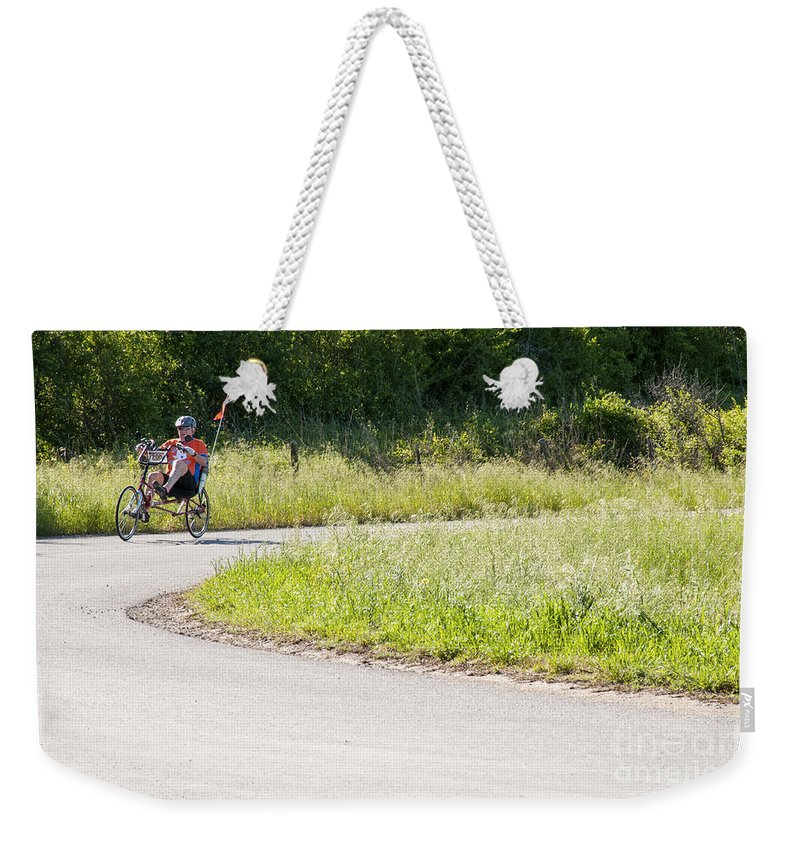 Bicycle Bicycles Williamson County Texas Landscape Landscape Man Men People Person Persons Bike Bikes Creature Creatures Weekender Tote Bag featuring the photograph Enjoying The Red Poppy Ride by Bob Phillips