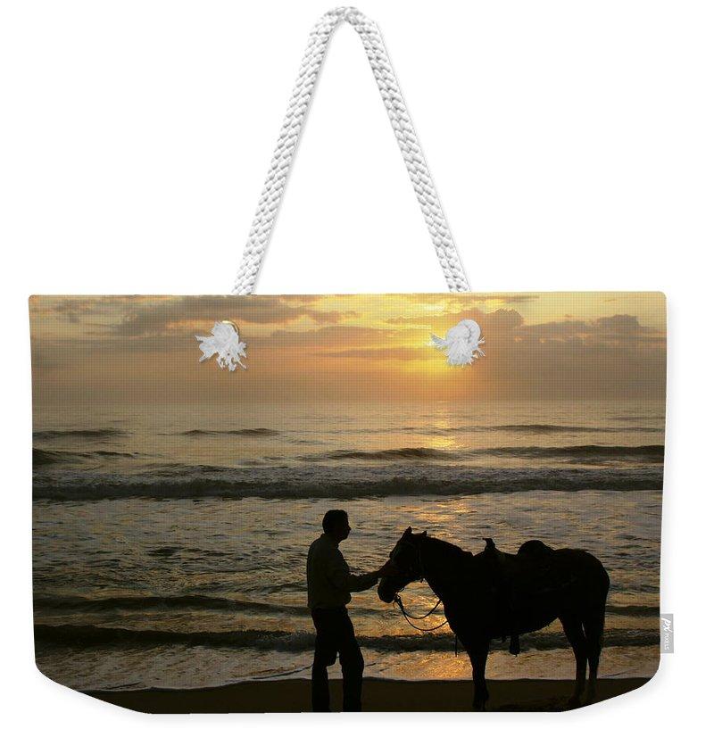 Sunrise Weekender Tote Bag featuring the photograph Enjoying The Sunrise by Myrna Bradshaw