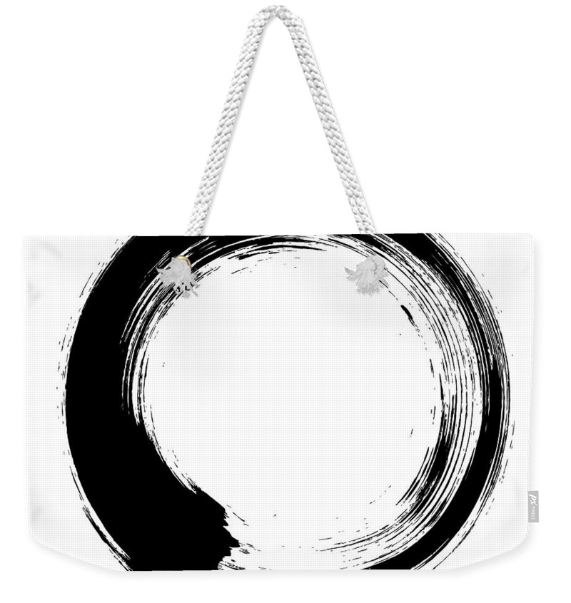 East Weekender Tote Bag featuring the digital art Enso – Circular Brush Stroke Japanese by Thoth adan