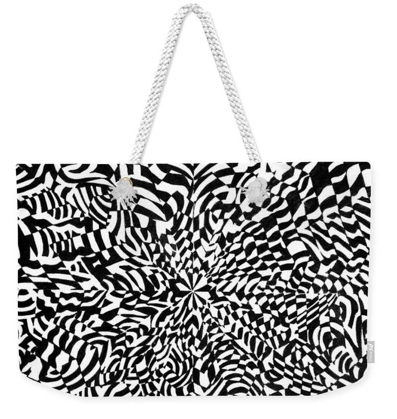 Abstract Weekender Tote Bag featuring the drawing Entangle by Crystal Hubbard