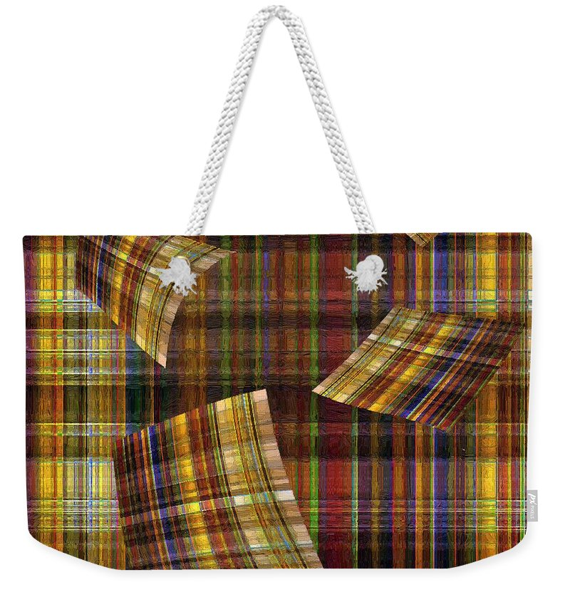 Plaid Weekender Tote Bag featuring the painting Entropy by RC DeWinter