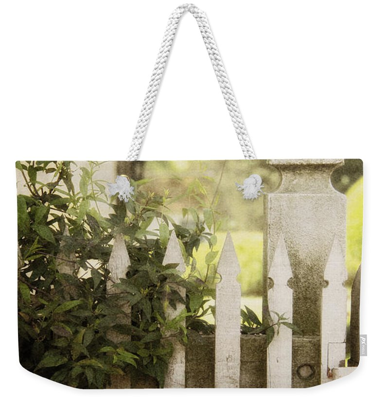 Fence Weekender Tote Bag featuring the photograph Entwined by Margie Hurwich