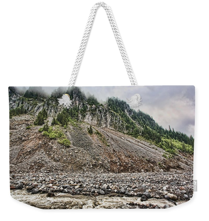Mount Rainier Weekender Tote Bag featuring the photograph Eons Of Change by Karen Ulvestad