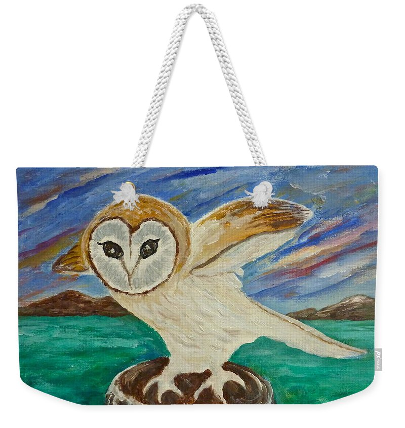 Owl Weekender Tote Bag featuring the painting Equinox Owl by Victoria Lakes