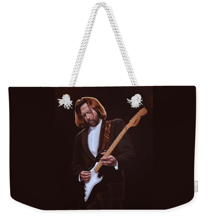 Eric Clapton Weekender Tote Bag featuring the painting Eric Clapton Painting by Paul Meijering