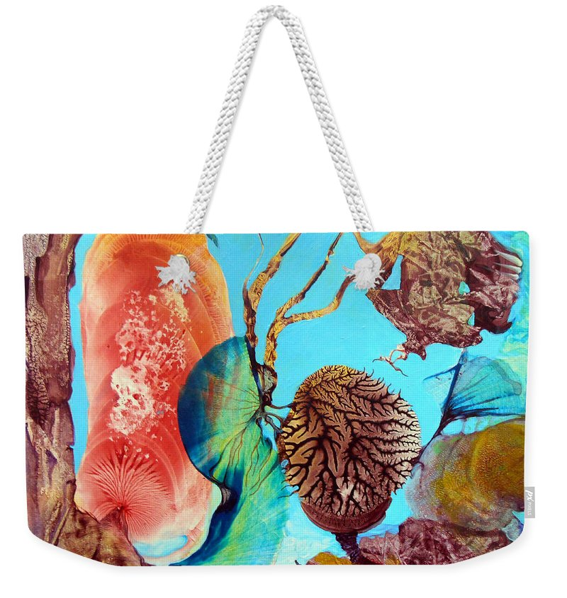 Landscape Weekender Tote Bag featuring the painting Ernsthaftes Spiel Im Innerem Erdteil by Otto Rapp