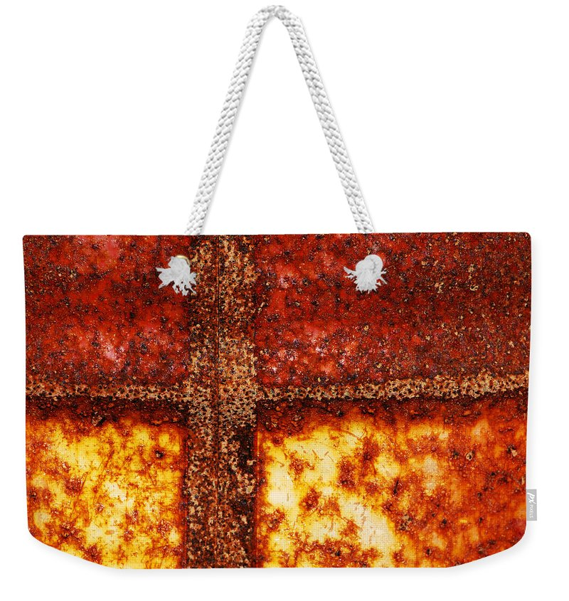Rusting Weekender Tote Bag featuring the photograph Erosion by Wendy Wilton