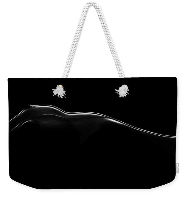 Landscape Black White Boobs Tits Nude Naked Female Woman Girl Body Shape Curve Curves Sensual Weekender Tote Bag featuring the painting Erotic Landscape by Steve K